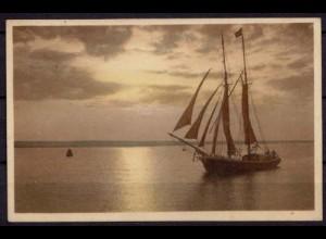 AK Segelyagt sailboat Segeln Sailing Dämmerung (7537