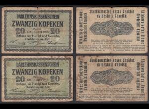 Besatzungsausgaben 1916 2 Stück á 20 Kopeken Posen Ro 457 Pick R120 (29408
