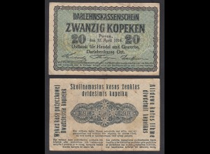 Besatzungsausgaben 1916 20 Kopeken Posen Ro 457 Pick R120 F+ (4+) (29411