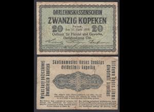 Besatzungsausgaben 1916 20 Kopeken Posen Ro 457 Pick R120 VF- (3-) (29412
