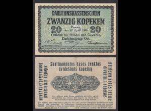 Besatzungsausgaben 1916 20 Kopeken Posen Ro 457 Pick R120 VF+ (3+) (29413