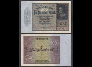 Germany 500 Mark 1922 Serie C 7-stellig Ro 70 Pick 73 VF+ (3+) (29493