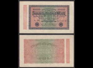 Ro 84h - 20000 Mark 1923 Pick 85d - FZ: PB - BZ: N WZ Dornen VF (3) Starnote