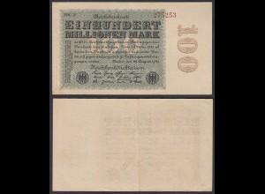 Ro 106v - 100 Million Mark 1923 Pick 107 FZ: MM - BZ: 27 VF (3) WZ liegend