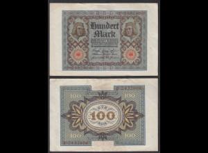 Ro 67a 100 Mark Reichsbanknote 1920 Pick 69 UDR: F Serie P VF (3) (29509