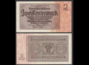 """Ro 167 2 Rentenmark Serie D 8-stellig """"braun"""" UNC (1) (29533"""