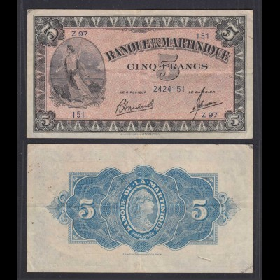 Martinique 5 Francs Banknote 1942 Pick 16b VF (3) (29625