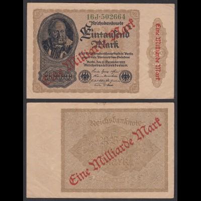 Ro 110f 1 Milliarde Mark 1923 Pick 113 FZ: J BZ: 16 VF- (3-) (29633