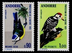 Andorra Mi. 253-54 Vögel Birds Animals Wildlife 1973 ** MNH (9159