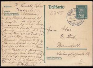 Nieder-Ohmen Oberhessen Karte 1928 nach Darmstadt Ganzsache (13295