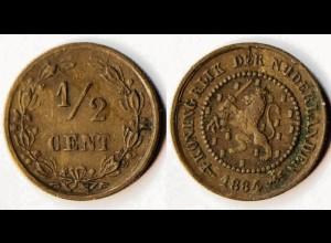 Niederlande - Netherlands - NEDERLAND 1/2 Cent 1884 (r794