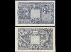 ITALIEN - ITALY 10 Lire Banknote 1944 Pick 32c WW2 AU (1-) 0954 183954 (13223