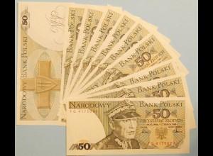 POLEN - POLAND 10 pieces á 50 Zlotych Banknotes 1986 Pick 142c UNC (11898