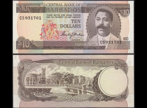 Barbados 10 Dollars Banknotes 1973 Pick 33 aUNC (11490