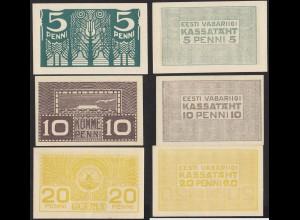 ESTLAND-ESTONIA-EESTI 5,10+20 Penni Banknoten 1919 Pick 39-41 aUNC (1-) (13948