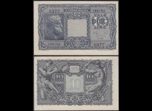 ITALIEN - ITALY 10 Lire Banknote 1944 Pick 32b WW2 AU (1-) 0277 299156 (13221