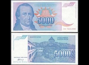 Jugoslawien - YUGOSLAVIA - 5000 Dinara 1994 aUNC - Pick 141 (12754