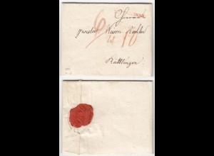 Baden roter Kippenheim R.1 nach Reutlingen 1807 mit Inhalt sehr selten!! (12128