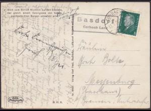 Karte mit Posthilfstelle/Landpost Basdorf Corbach Land Edersee (4449