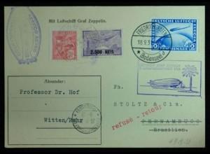 Zeppelin-Karte Südamerika + zurück 2 RM + Brasilien Frankatur (a2313