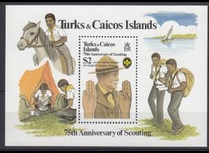 Turks + Caicos Pfadfinder SCOUTS Block 1982 ** (5274