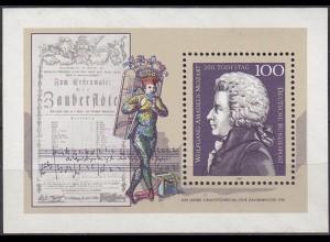 Bund 1991 Todestag Mozart Musik S/S Block 26 ** (5483
