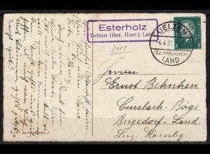 Karte Posthilfstelle/Landpost Esterholz über Uelzen Land (6038