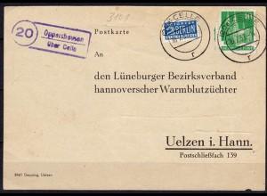 Karte Posthilfstelle Oppershausen über Celle 1951 Tierzucht Uelzen (6039