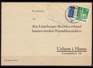 Karte Posthilfstelle Bargfeld über Celle 1950 Tierzucht Uelzen (6040