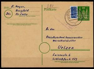 Karte Posthilfstelle/Landpost Bargfeld Kreis Celle 1950 Tierzucht Uelzen (6049