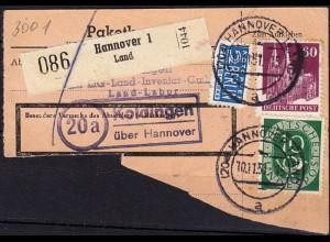 Paket-Karte-Teil Posthilfstelle/Landpost Koldingen über Hannover (6054
