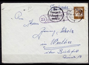 Brief Posthilfstelle Tungeln über Oldenburg nach Werther (6058