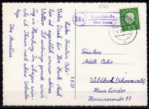 Karte Posthilfstelle Riensförde über Stade 1959 auf AK (6068