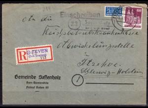 R-Brief Posthilfstelle Sassenholz über Zeven (Bremen) m. Not-R-Zettel 1951 (6073
