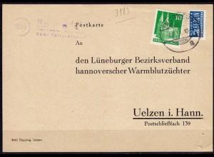 Karte Posthilfstelle/Landpost Barwedel ü Fallersleben 1951 Pferde (6101