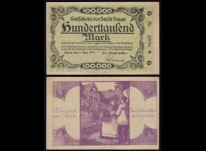Rheinland - Haan 100 tausend Mark 1923 Notgeld/Gutschein Wir sind ein Volk(15378