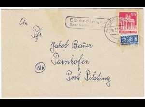 Posthilfstelle/Landpost Eberdingen über Vaihingen n. Parnkofen 1950 (10440