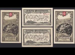 Thüringen - Kahla Leuchtenburg je 25 Pfg. rote + schwarze KN Notgeld (10620