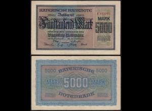 Bayern - 5000 Mark Banknote Notenbank Notgeld 1-12-1922 VF (14834