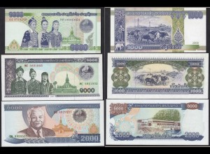 Laos - Lao 1000, 1000 + 2000 Kip Banknoten 1997/2008 UNC (14827