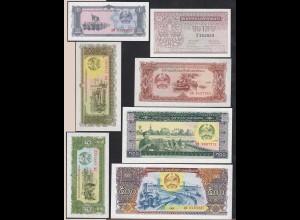 Laos - Lao 7 Stück Banknoten 1962/1988 UNC (14830