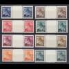 Deutsche Besetzung 2. WK WW2 Böhmen & Mähren 8 postfrische Paare ZW (10776