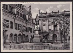 AK Leipzig Naschmarkt Goethe Denkmal (b060