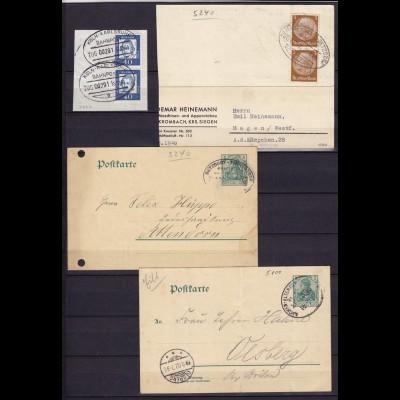 Bahnpost Stempel 4 Stück auf Karten/Briefstück (10813