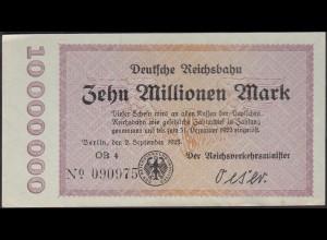 Reichsbahn Berlin 10 Millionen Mark 1923 XF (14627