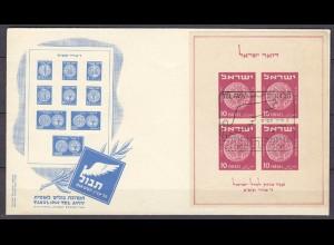 Israel - Block 1 aus 1949 auf FDC Ersttagsbrief (11349