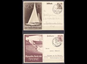 Olympiade 1936 Kiel Segeln Berlin Olympisches Dorf auf Ganzsachen (11348