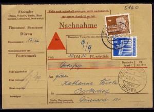 Birkesdorf über Düren Behörden Nachnahme 1950 (6148