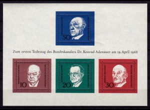 GERMANY S/SHEET CHANCELLOR ADENAUER Bl.4 MNH ** (6749