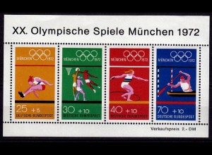 GERMANY S/SHEET 1972 SUMMER OLYMPICS Bl.8 ** MNH (6753